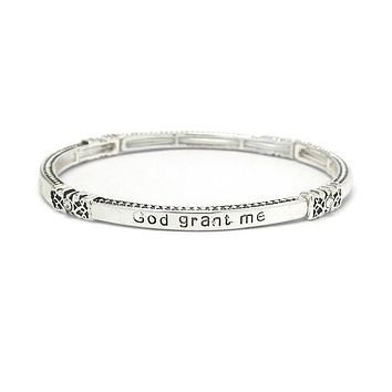 Silver Religious Inspiration Stackable Serenity Prayer Stretch Bracelet
