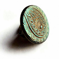 Paisley ring, teal and gold statement ring, henna pattern, polymer clay