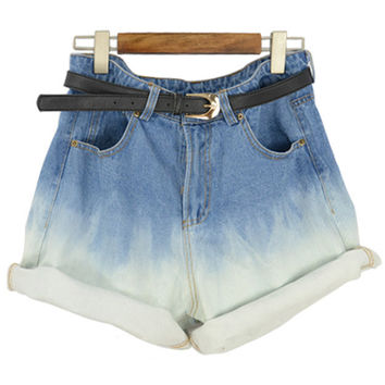 Blue Ombre Denim Shorts