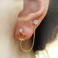 Rhinestone crown double-pierced ears stud earring   from looback