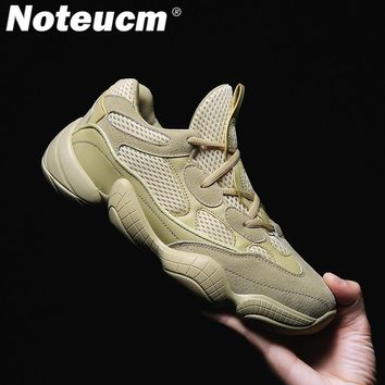 Noteucm 2018 Genuine Leather Mesh male kanye dad casual shoe chunky west platform sneakers for men thick sole bambas trainer 500