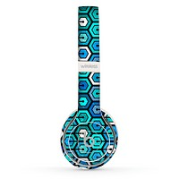 The Blue and Green Vibrant Hexagons Skin Set for the Beats by Dre Solo 2 Wireless Headphones