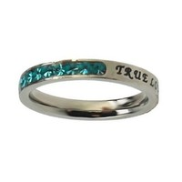 """Christian Women's Stainless Steel Absitnence Princess Cut """"True Love Waits"""" 1 Timothy 4:12 Comfort Fit 3mm March Birthstone Aquamarine Colored Cubic Zirconium Chastity Ring for Girls - Girls Purity Ring - Stackable"""