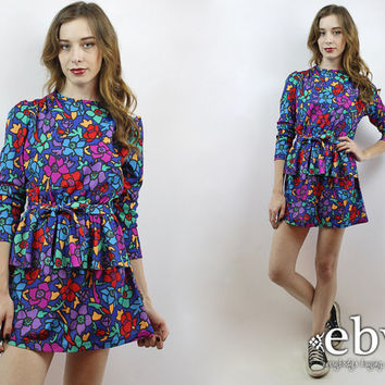 03e712a1fe Vintage 80s Bright Floral Peplum Mini Dress XS S Floral Party Dress Floral  Mini Dress Longsleeve