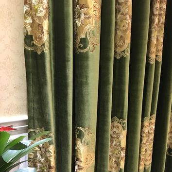 Velvet Euro Deep Green Drapery Curtain, Panels Cloth Upholstery Fabric, 280cm Wide Railroaded