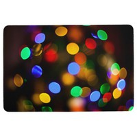 Multicolored Christmas lights. Floor Mat
