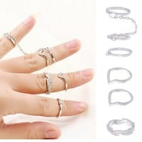 MJartoria Silver Color Leaf Rhinestone Chain Stacking Rings Set, Size 2 to 6