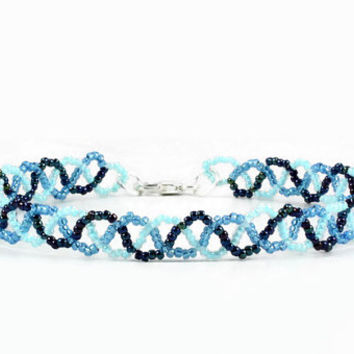 Blue Anklet - Seed Bead Anklet - Braid Ankle Bracelet - Beaded Jewelry - Beadwork Anklet - Summer Anklet - Beach Jewelry
