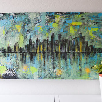 City B- an original abstract cityscape acrylic painting