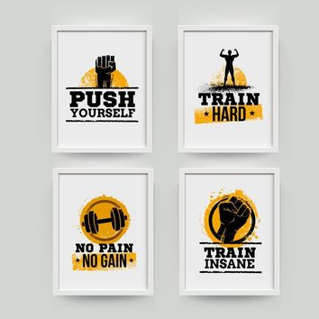 Workout Gym Motivational Quote Poster Canvas Art Print Inspirational Fitness Quote Canvas Painting Poster Gym Decor