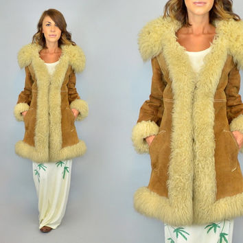 vtg 70s SHAGGY heavy duty SUEDE + SHEARLING boho hippie heavy penny lane coat, medium-large