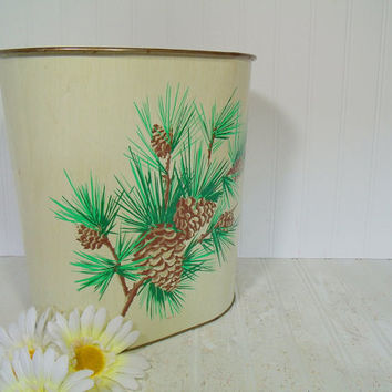 Vintage Lithograph Green & Ivory Metal Waste Can - Rustic Evergreen Branches and Pinecones on 2 Sides Design Bin - Shabby Chic Trash Basket