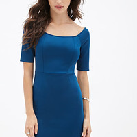 FOREVER 21 Scuba Knit Bodycon Dress Teal
