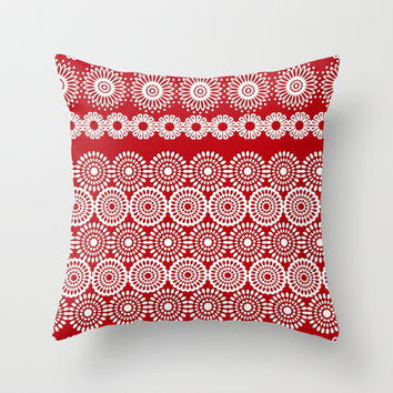 Cute Red Crochet Lace Flowers  Throw Pillow by Silvianna