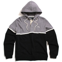 Hooded Rugby Pullover Hoody Black
