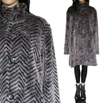 Silver Faux Fur Coat Chevron Striped Long High Collar 90s Club Kid Raver Glam Clothing Winter Outerwear Womens Size XL