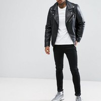 ASOS DESIGN leather biker jacket in black at asos.com