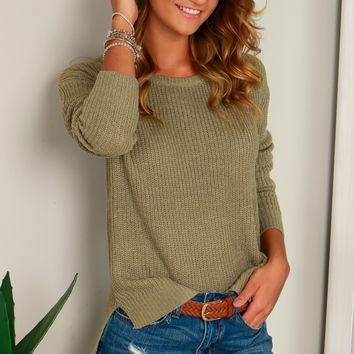 Round Neck Knit Sweater Sage