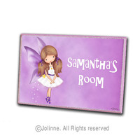 Angel door sign, girls room sign, door hanger, kids room, personalized girls art, fairy, purple
