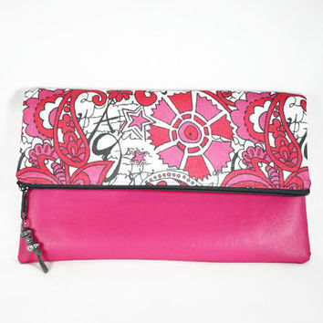 Hot Pink Vegan Leather Fold Over Zipper Clutch Pink Gray Retro Print Fold Over Clutch Flap Over Clutch