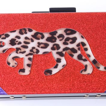 Line and Tiger Glitter Acrylic Box Clutch