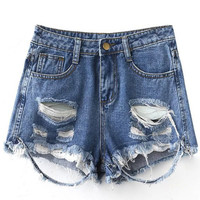 Blue Pockets Lace Splicing Ripped Hole Denim Shorts