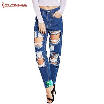 Loose Sequins Hole Ripped Jeans Women With High waist Torn Denim Pants Stretch Womens Straight Pencil Pants