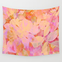 orange and peach floral Wall Tapestry by Clemm