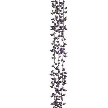 """Eggplant Plastic String of Pearl Hanging Succulents - 26.25"""" Long"""