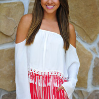 On The Edge Of Fringe Crop Top: White | Hope's