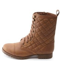 Lace-Up Quilted Combat Boots by Charlotte Russe
