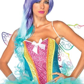 Rainbow Sequin Corset (Medium,Multicolor)