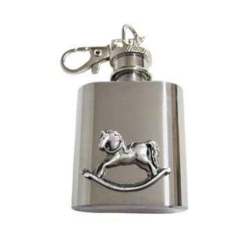 Rocking Horse 1 Oz. Stainless Steel Key Chain Flask