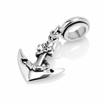 925 Sterling Silver Anchor Dangle Bead Charm Fits Pandora Bracelet