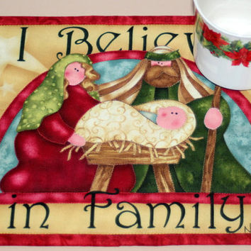 Quilted Mug Rug - Nativity Mug Rug - Christmas Snack Mat