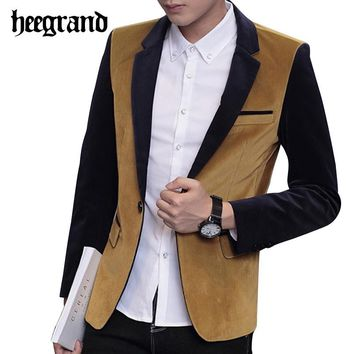 HEE GRAND 2017 New Patchwork Color Leisure Men Blazers Fashion Slim Male Clothing Casual Masculino Coat MWX352
