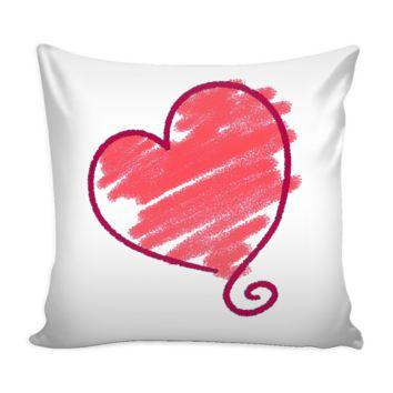 Decorative throw pillow cover red heart valentines day