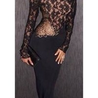 Black Sheer Mesh Lace High Neck Long Sleeve Cut Out Back Fishtail Mermaid Bodycon Maxi Dress Gown