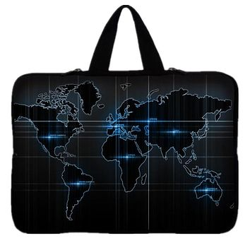"World Map Laptop Bag Soft Zipper Sleeve Case For Macbook Pro Air Neoprene Computer Bag 7.9"" 10.1"" 11.6"" 13.3"" 14'' 15.6"" 17.3"