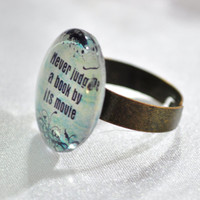 LIterature quote ring on antiqued brass