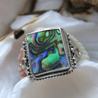Sterling Silver Abalone Ring 4.35g Size 8 Vintage
