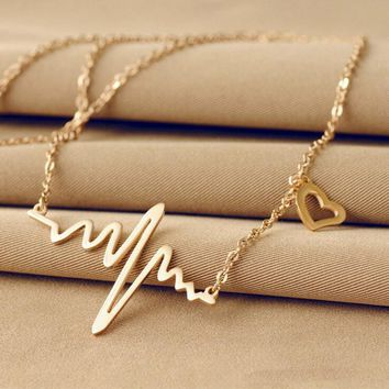 LNRRABC Wave Heart Chic ECG Heartbeat Rose Gold/Silver Color Pendant Charm Necklaces Body Chain Rhythm Valentine's Day Gifts