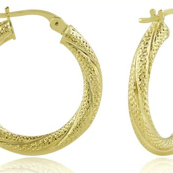 Women's Diamond Pattern Twist Hoop Earrings in 14k Real Yellow Gold