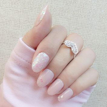 Fashion Short Fake Nail Holo Sequins Acrylic False Nails With Glitter Oval Top Full Cover Manicure Products Z122