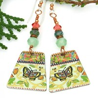 RESERVED. Butterfly Vintage Tea Tin Earrings, Lightweight Handmade Jewelry Gift