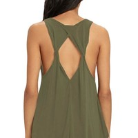 Chicloth Army Green Twist Back Tank Top