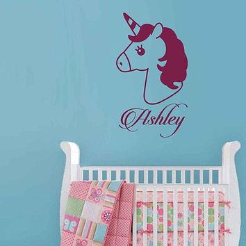 Unicorn wall decal girls name personalized unicorn wall decal unicorn monogram wall decal ik3481