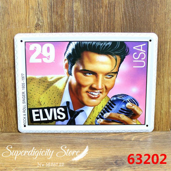Rock Roll Singer Elvis Presley Tin Metal Sign Poster Music Zone Decor L-74 15*20CM