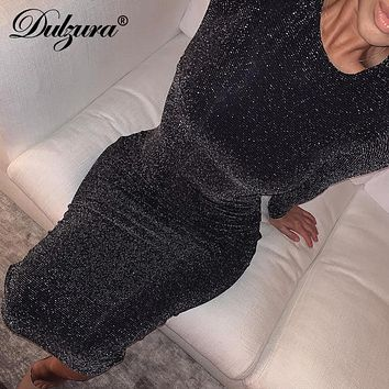 Dulzura glitter sparkle bling long sleeve dress sexy party 2019 autumn winter elegant bodycon christmas sequins club office