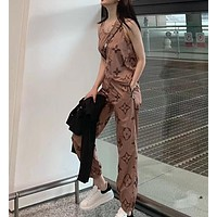 """Louis Vuitton"" Women's Leisure  Fashion Letter Print Sleeveles Vest Long Trousers Two-Piece Casual Wear"
